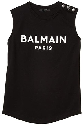 Balmain Kids Sleeveless Logo Tee w/ Buttons On Shoulder (Big Kids) (Black) Girl's Clothing