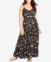 City Chic Trendy Plus Size Crochet-Waist Maxi Dress