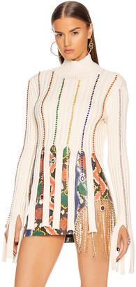 Area Embroidered Crystal Crop Sweater in Ivory & Rainbow | FWRD