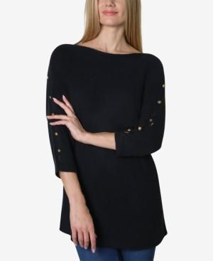 Adrienne Vittadini Boat Neck Dolman Split Sleeve Button Trim Sweater