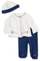 Little Me Infant Girl's Bird Dot Cardigan, Pants & Hat Set