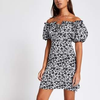 River Island Womens Black floral puff sleeve bardot mini dress