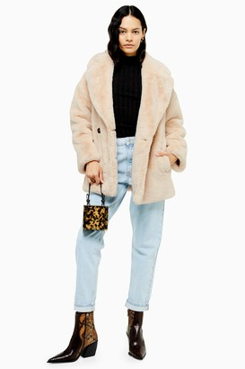 Topshop Womens Cream Soft Faux Fur Double Breasted Coat - Cream