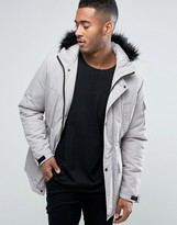 Asos Parka Jacket With Faux Fur Trim In Stone