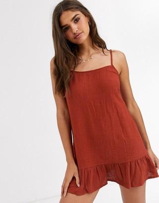 rhythm Sundown beach dress in dark red