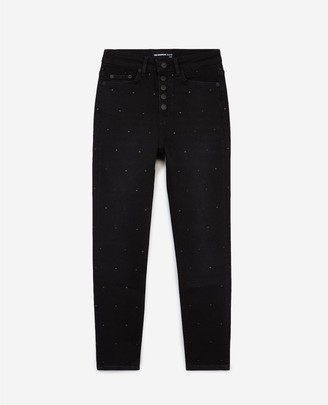 The Kooples Slim fit black jeans with visible buttons