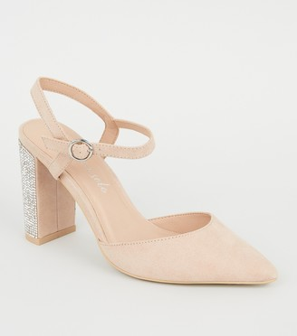 New Look Suedette Gem Heel Pointed Court Shoes