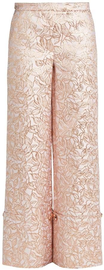 Osman Leaf-brocade turn-up trousers