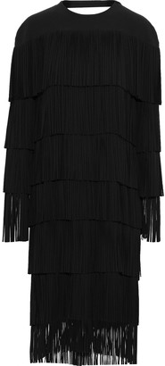 Tom Ford Tiered Open-back Fringed Ponte Midi Dress