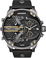 Diesel Men's Chronograph Mr. Daddy 2.0 Black Leather Strap Watch 66x57mm DZ7348