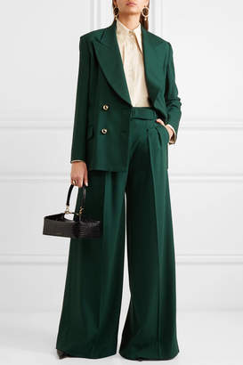 Erdem Ilaria Belted Pleated Grain De Poudre Wool-blend Wide-leg Pants - Green