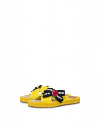 Love Moschino Sandals Rope Bow Love Woman Yellow Size 35