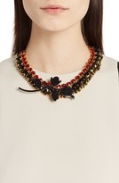 Marni 'Strass' Leather, Crystal, Chain & Ribbon Statement Necklace