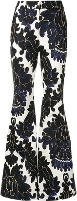 Adam Lippes Floral-Print Flared Trousers
