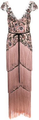 Marchesa Notte Beaded Floral Fringed Gown