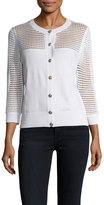 St. John Ribbed Paneled Cardigan