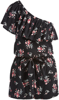 Mimichica Black Floral Flounce One-Shoulder Romper