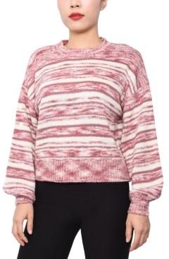Derek Heart Juniors' Striped Marled Pullover Sweater
