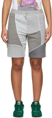 Ahluwalia Grey Patchwork Shorts