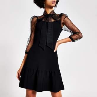River Island Womens Black polka dot mesh tie bow neck dress