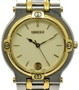 Gucci 9000M Stainless Steel & Plated Metal 32mm Mens Watch
