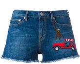 Mira Mikati embroidered patch denim shorts - women - Cotton - 36