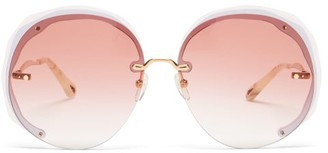 Chloé Elaia Oversized Round Metal Sunglasses - Light Pink