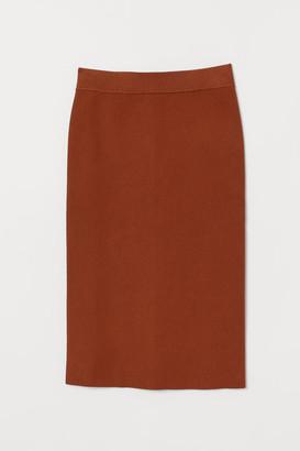 H&M Ribbed Pencil Skirt - Orange