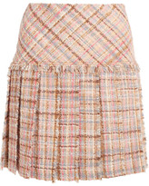 Miu Miu Pleated Wool-blend Tweed Mini Skirt - Blush