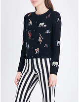 Alice + Olivia Alice & Olivia Ruthy animal-embroidered knitted cardigan