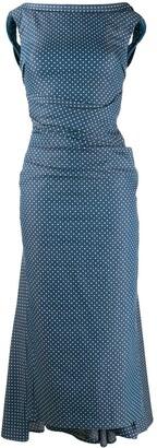 Talbot Runhof Polka Dot Denim Dress