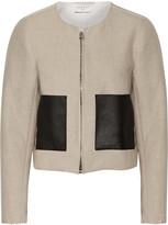 Sandro Virgie leather-trimmed linen-blend jacket