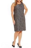 Kasper Plus Metallic Pleated Hem Dress