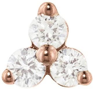 Maria Tash 6.5mm Large Three Diamond Trinity Thread Through Rose Gold Single Earring