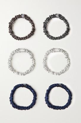Slip Set Of Six Small Silk Hair Ties - Gray