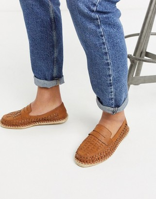 ASOS DESIGN espadrille loafers in tan weave