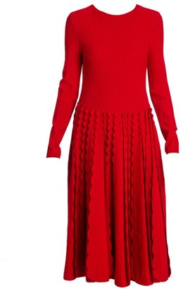 Valentino Knit Ruffle Godet Midi Dress