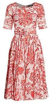 Samantha Sung Women's Printed Belted Midi Dress