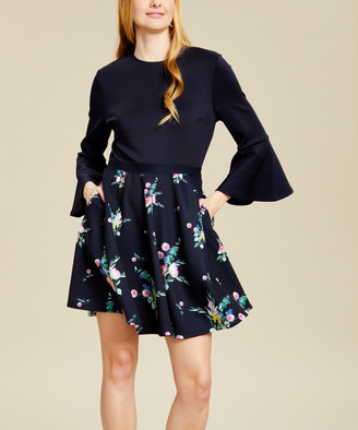 Ted Baker Women's Casual Dresses NAVY - Navy Floral Bell-Sleeve Hadlley Fit & Flare Dress - Women