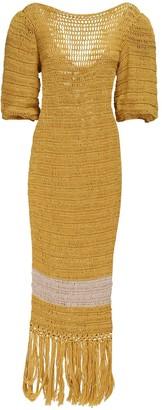 Johanna Ortiz Knit Cotton & Alpaca Sheer Dress