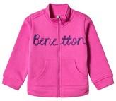 Benetton Fuschia Long Sleeve Zip Sweater Jacket With Knit Logo