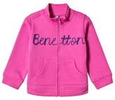 Benetton L/S Zip Sweater Jacket With Knit Logo Fushcia