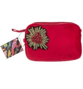 Red Velvet Bag With Crystal Heart Embellishment