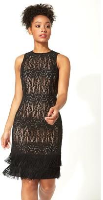 M&Co Roman Originals lace tassel sleeveless shift dress