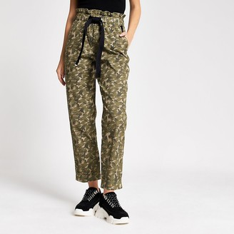 River Island Khaki camo tie wasited utility trousers