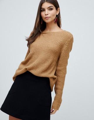 Vila long sleeve knitted top-Beige