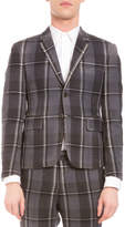 Thom Browne Distressed Plaid Two-Button Wool Jacket, Medium Gray