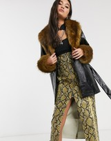 Topshop coat with faux fur trim in black