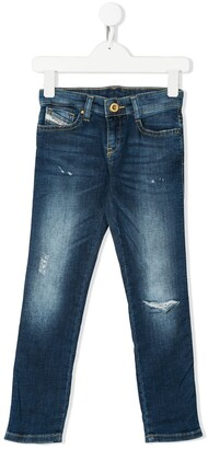 Diesel Distressed Mid-Rise Skinny Jeans