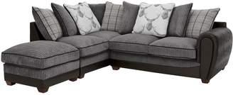 Highland Faux Snakeskin/Fabric Left Hand Scatter Back Corner Chaise Sofa